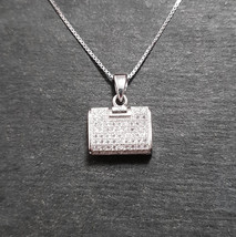 New 14k White Gold On 925 Purse Pendant Charm - $35.76