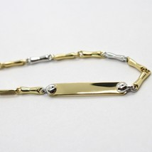 18K WHITE & YELLOW GOLD BRACELET WITH PLATE ENGRAVABLE 7.9 INCHES MADE IN ITALY image 2
