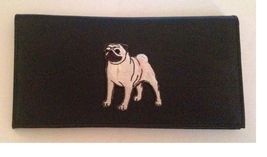 Pug Lovers Checkbook Cover Pug Dog breed leather checkbook Pugs - $21.00