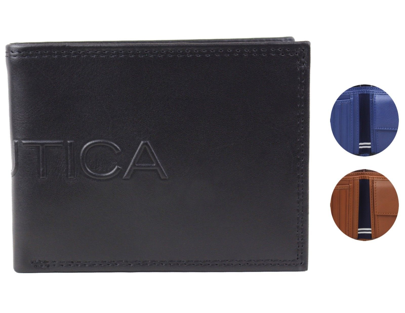Nautica Men's Genuine Leather Credit Card Billfold Coin Rfid Wallet 31NU130015