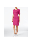 Karen Scott Womens Sport Dress Bright Pink Cuffed Short Sleeves Shift SZ... - $14.84