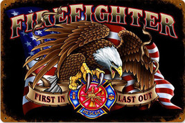 American Firefighter with Eagle Fireman Fire Department Station Metal Sign - $30.00