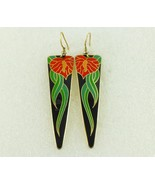 "LAUREL BURCH ""Anthurium"" Red Green Black Enamel Gold-Tone Drop Dangle EA... - $30.00"