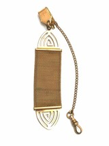 Antique Victorian Watch Chain Flat  Gold Mesh 1911 Fancy - $58.35