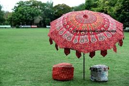 Indian New Multipurpose Umbrella Peacock Mandala Outdoor Beach Garden Su... - $139.13 CAD