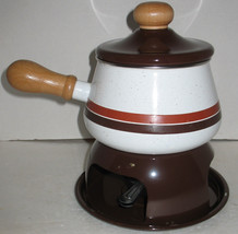 Vintage Mid-Century Multi-Tone Brown Stripes Enamel Fondue Set Pot Stand... - $28.71