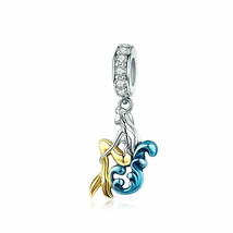 Mermaid Silver Charm Genuine 925 Sterling Silver Pendant Fits Pandora Br... - $12.90