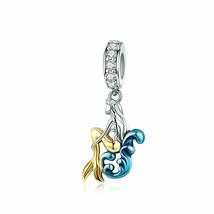 Mermaid Silver Charm Genuine 925 Sterling Silver Pendant Fits Pandora Bracelet image 1