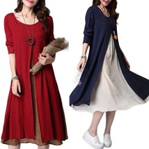 Women Long Sleeve Crew Neck Vintage Kaftan Split Casual Loose Solid Maxi Dress - $32.64