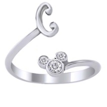 Diamond Disney Mickey Mouse Initial C Ring 10K White Gold Plated Pure 925 Silver - $24.96