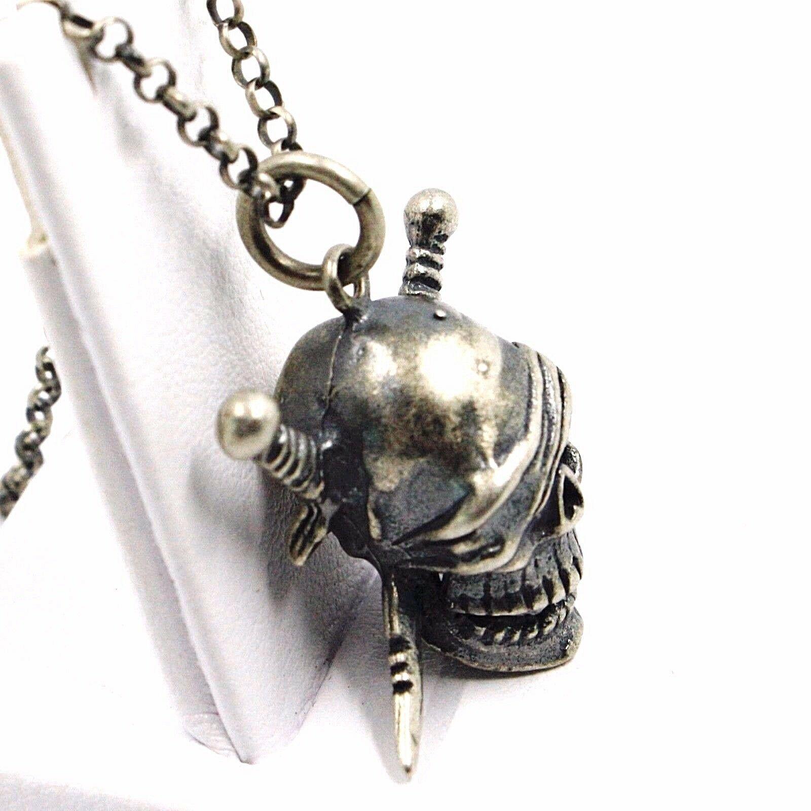 Halskette und Anhänger, Silber 925, Brüniert Matt, Schädel Pirat, Kette Rolo