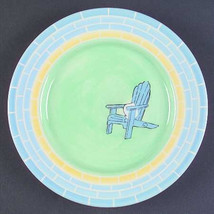 """Brushes K.I.C. Hand Painted, Accent Salad Plate """"Chair"""" Light& Dark Blue... - $13.99"""