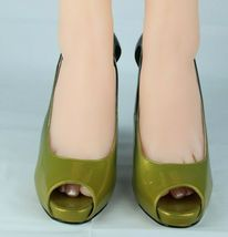 Jessica Simpson pensly women's wedge heels shoes green open toe size 10B image 3