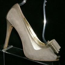 Nine West 'Loreteo' gray suede round peep toe bow slip on platform heels 8M - $33.30