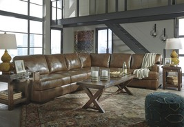 Ashley Vincenzo 3 Piece Sectional in Nutmeg Leather Interior Contemporary Style