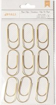 Chunky Wide Paper Clips. Set of Nine Gold Color