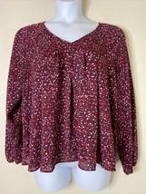 a.n.a Womens Size XL Maroon Confetti Blouse Long Sleeve V Neck - $14.85