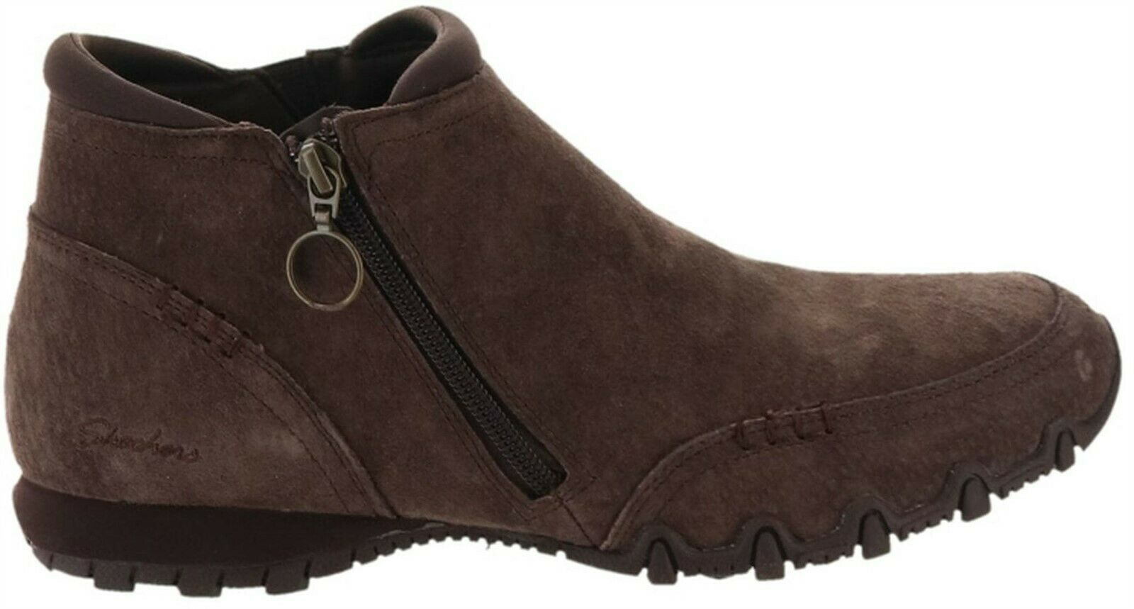 Primary image for Skechers Relaxed Fit Suede Ankle Boots Zappiest Chocolate 7.5W NEW A342535