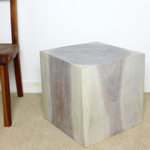 Cube Sust Wood 18 x 18 x 18 inch End Table w Eco Friendly Livos Agate Gr... - $252.85