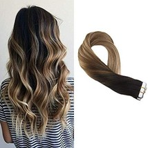 Moresoo 18Inch Tape in Human Hair Extensions Real Human Hair Color #1B Off Black