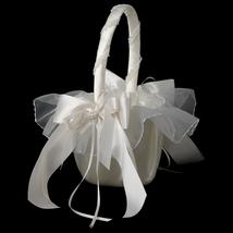 White Bridal Flower Girl Basket FB 502 - $40.99