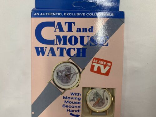 Primary image for Vintage Cat & Mouse Mystery Dial Quartz Wrist Watch  NOS 1980s New In Box