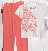 ONQUE CASUALS KNIT PANTS ORANGE SPORT COUTURE TOP SIZE S - M WHITE BEADED - $27.99