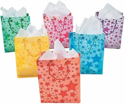 12 x Oriental Trading Co. Assorted Color Frosted Star Gift Bag Party Sup... - $7.50