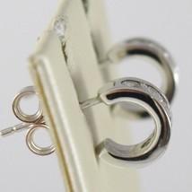 White Gold Earrings 750 18K Circle, Diameter 0.9 cm, Zircon, Width 3 MM image 2