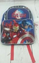New Marvel Civil War Captain America Iron Man Black Blue 3 Pocket Backpack  - $15.88