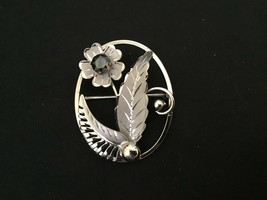Sterling Silver & Hematite Floral Leaf Signed CC Oval Brooch Pin  - $15.79