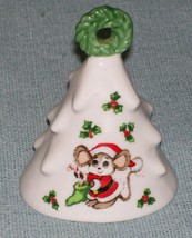 Vintage Lefton Christmas Mouse Bell # 476 Mouse -Wreath Top Holly - Orig Sticker - $4.95