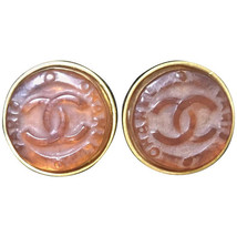 Vintage CHANEL brown candy earrings with  gold tone frame and engraved logo - $362.00