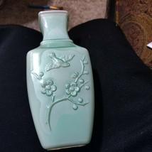Rare Vtg 1982 Avon Spring Dynasty Fragranced Vase Celadon Green Collectible - $5.90