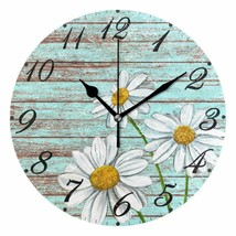 "Nice Wall Clock 10"" Floral Daisies Wooden Style Rustic Shabby Chic Farmh... - $49.00"