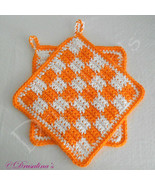 2 Potholders 100% Cotton Crochet Hot Orange White Gingham Buffalo Check ... - $16.99