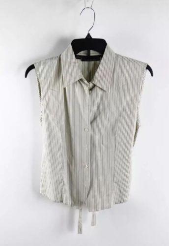 DKNY Dusty Cream Vertical Striped Sleeveless Full-Tie Shirt Collar Top 6