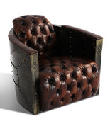 MarquessLife 100% Genunie Leather Handmade Tufted Couch Industrial Singl... - $1,510.00