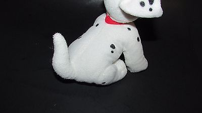Disney Store 101 Dalmatians Plush puppy dog beanbag red collar tongue out sittin