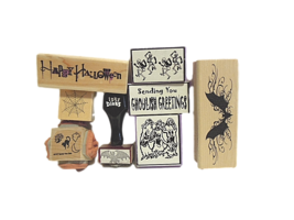 Halloween Stamps - NEW - Set of 11 Different Stamps, Wood and Foam Mounted