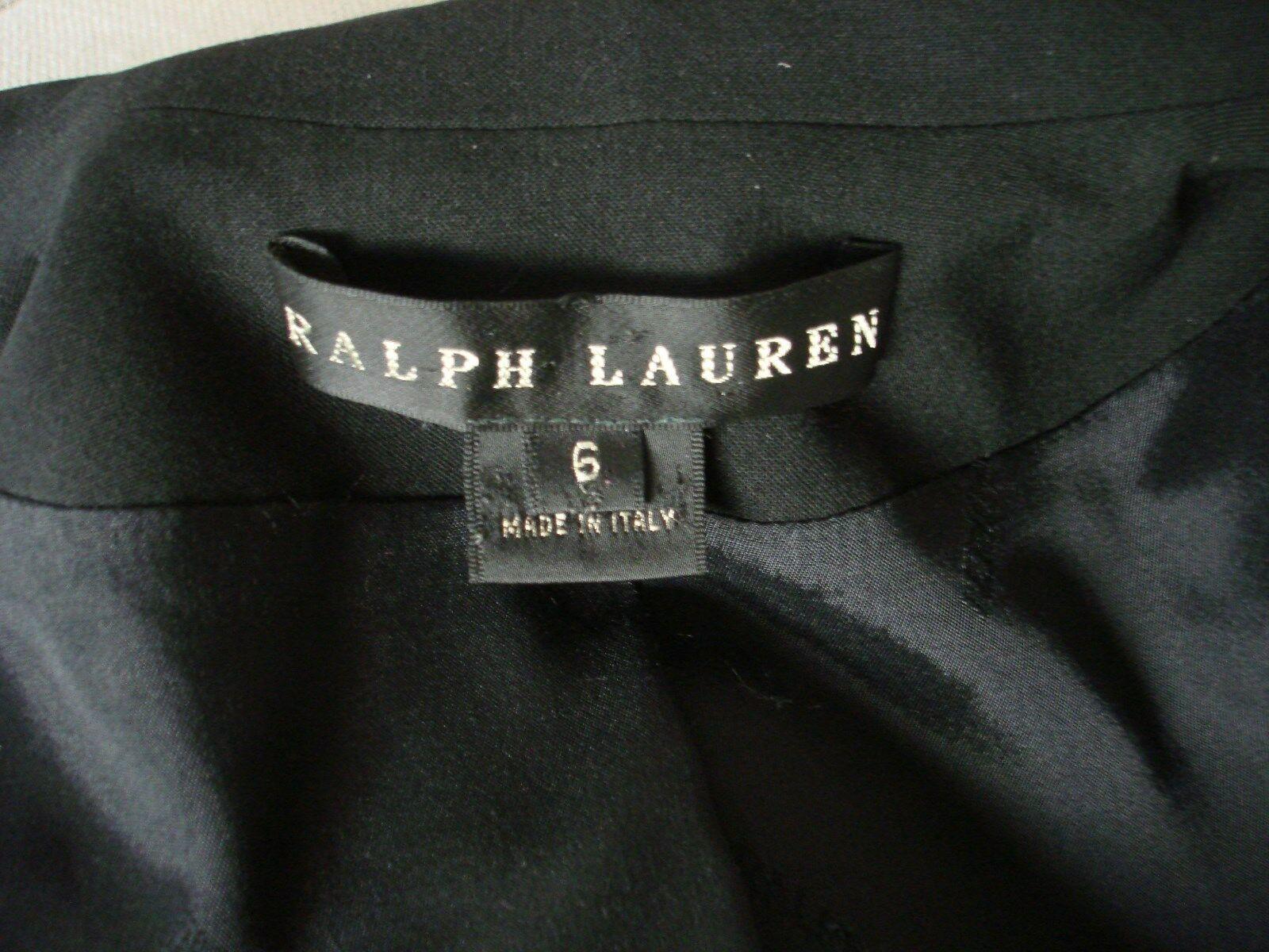 Ralph Lauren Black Label Wool Blazer Jacket Size 6 Hidden Button Mandarin Collar