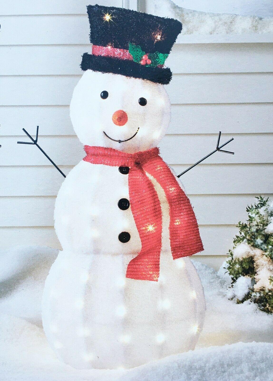 "Wondershop 37"" Lit Fabric Snowman Display with 50 Clear Mini Bulbs Yard Decor"