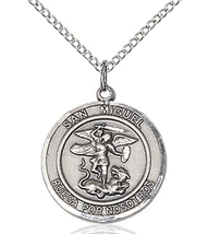 San Miguel Arcangel Pendant - Silver Filled on a 18 inch Rhodium Light Chain