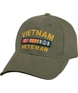 Olive Drab Vintage US Military Vietnam Veteran Deluxe Low Profile Adjust... - $14.99