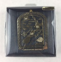 Paua Mania Brass 24K Gold Flashed New Zealand Map Metal Ornament Souvenir - $20.00