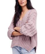 FREE PEOPLE Infinite V-Neck Sweater Gloomy Lavender Mult Sz - $84.99