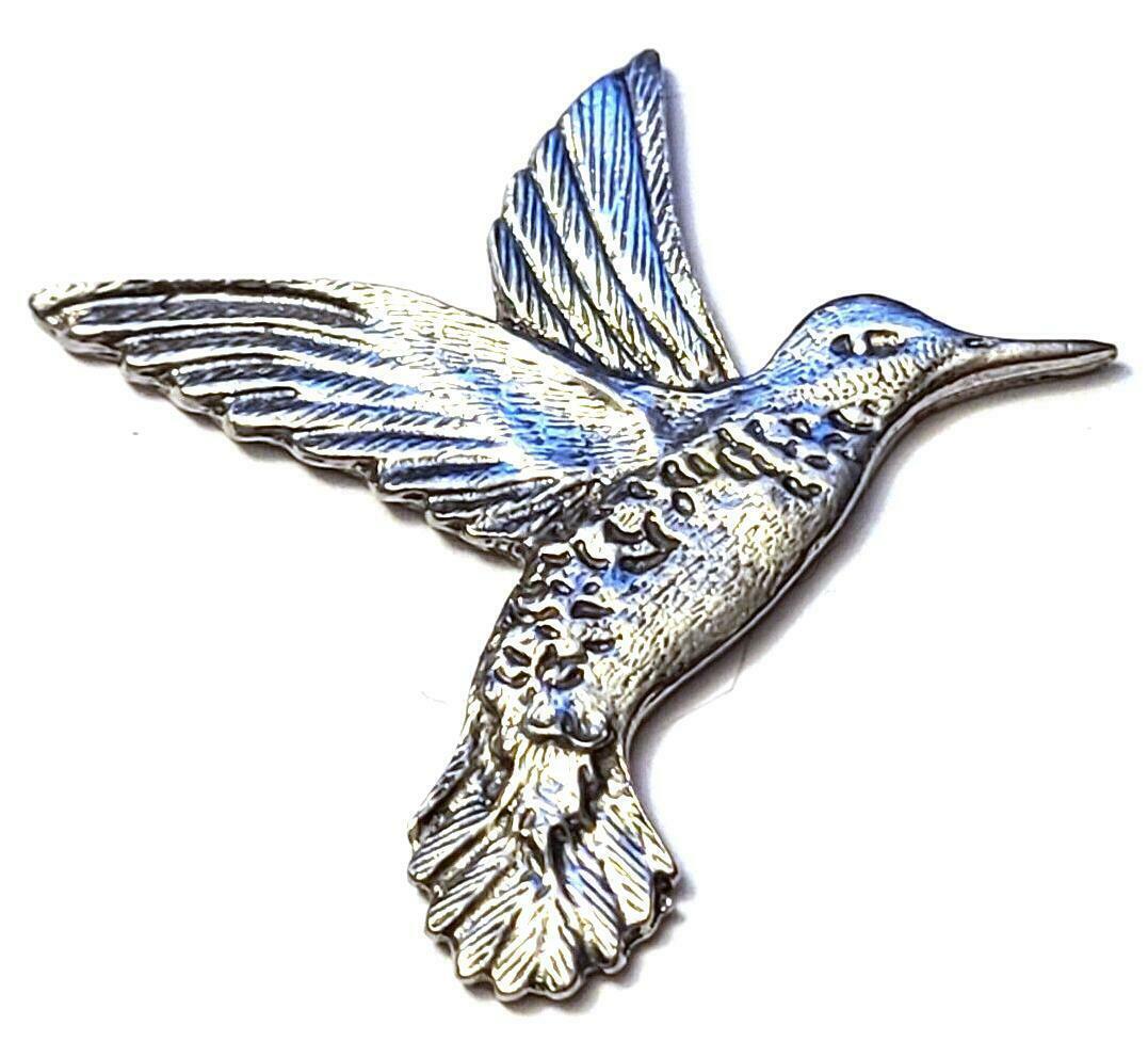 HUMMINGBIRD FINE PEWTER FLAT - Approx. 3/4 inch tall  DIY (T182)