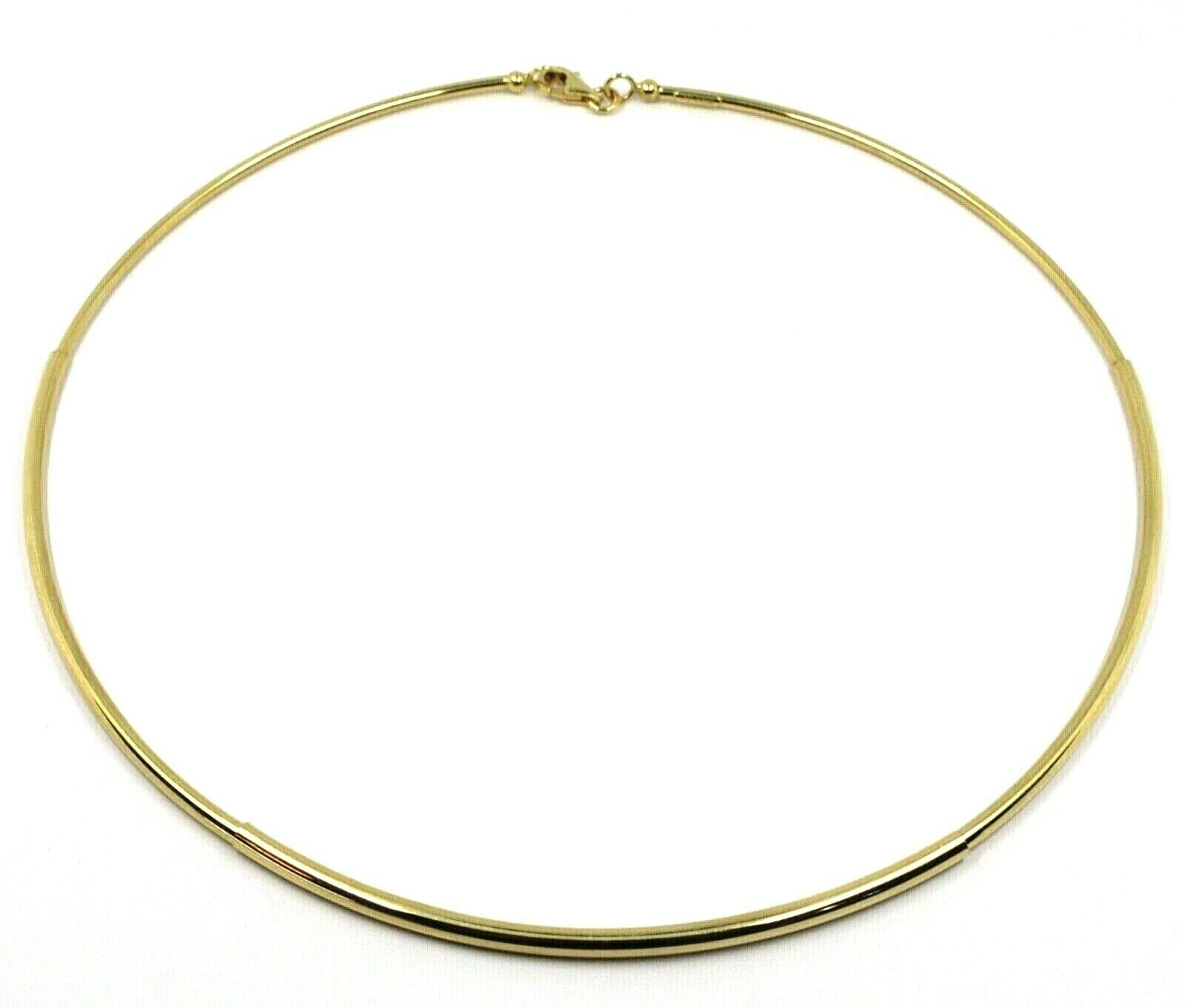 18K YELLOW GOLD RIGID NECKLACE CHOKER 3-THICKNESS TUBE FROM SMALL TO LARGE