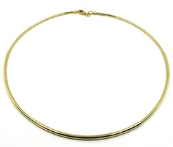 18K YELLOW GOLD RIGID NECKLACE CHOKER 3-THICKNESS TUBE FROM SMALL TO LARGE image 1