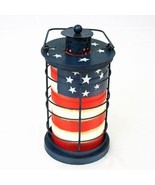 "American Flag Vintage Tealight Lantern Decor 7.5""Tall July 4th Decor - $17.72"